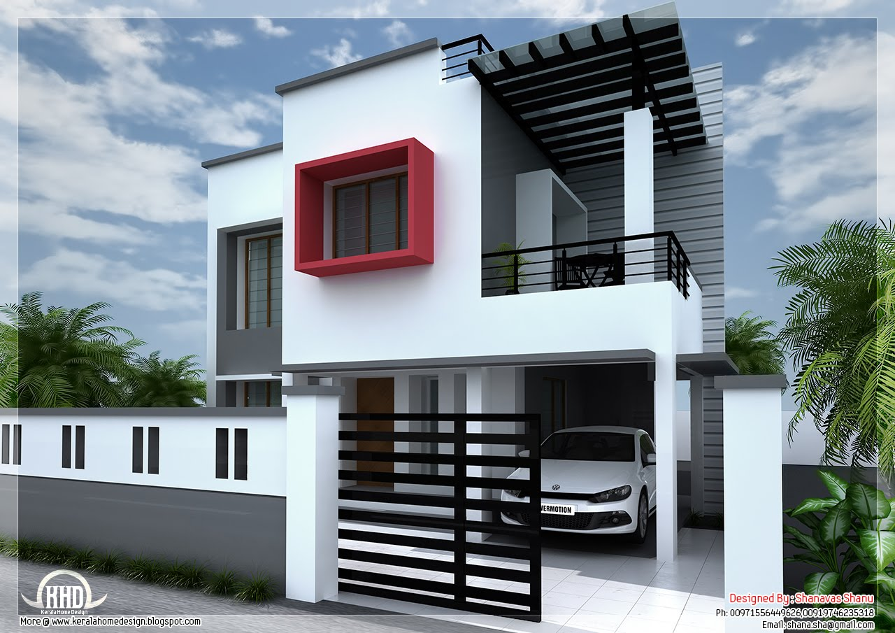1800 modern contemporary villa kerala home for Modern house plans with photos