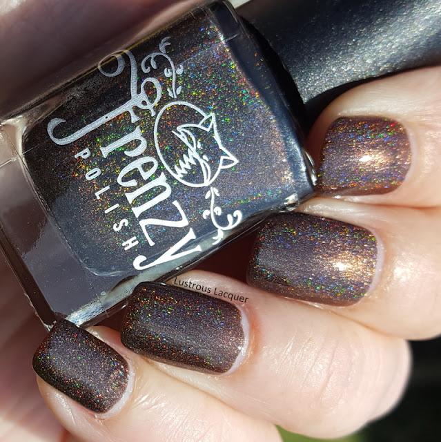 Dark brown holographic nail polish