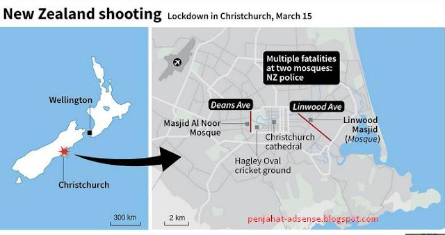new zealand mosque terror shooting location map
