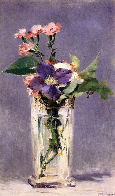 Edouard Manet Эдуарда Мане – Гвоздики и клематисы в хрустальной вазе