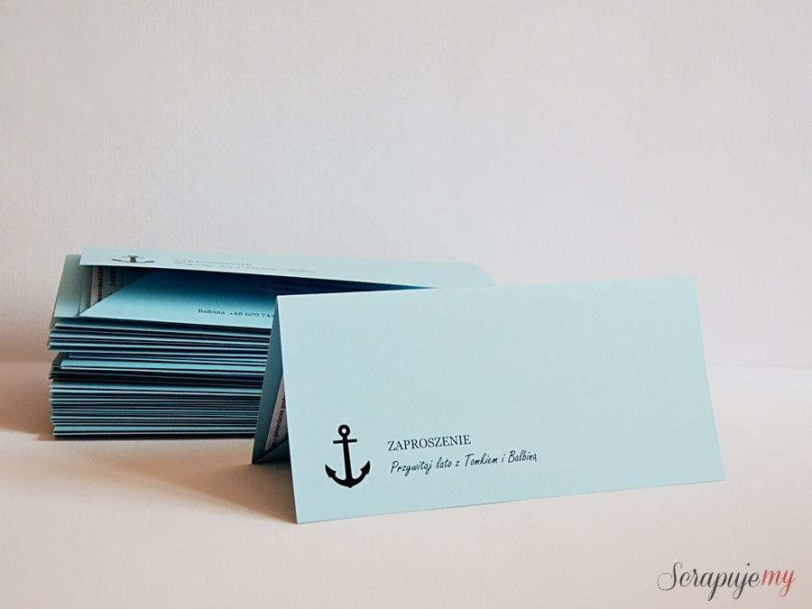 zaproszenia bilet, morskie zaproszenia, turkusowe zaproszenia, zaproszenia z kotwicą