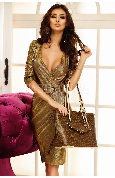 Rochie midi de seara, petrecuta, in nuante de auriu, cu decolteul adanc, manecile trei sferturi, crapatura