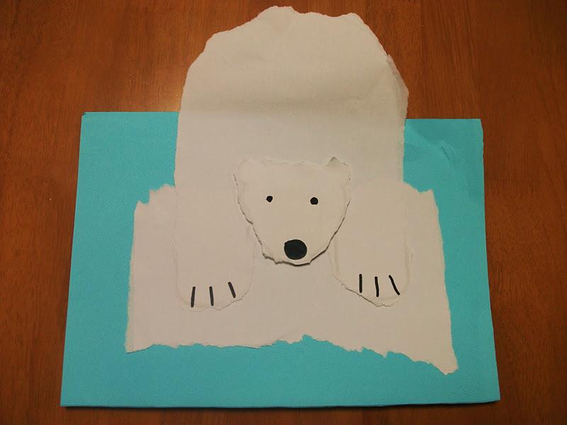 Preschool Crafts For Kids*: Polar Bear On Ice Craft