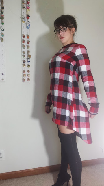 High low plaid dress