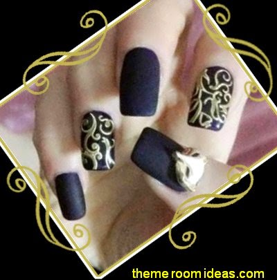 Black Golden 3D Lace Embossed Nail Art Sticker Decal Manicure Tips