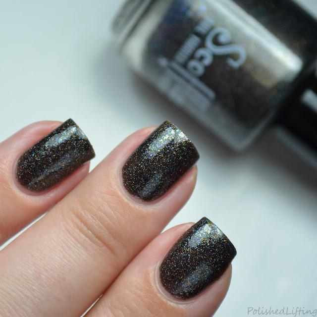 black rainbow nail polish