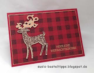 Buffalo check weihnachtskarte mit weihnachtshirsch von stampin up demonstratorin in coburg Karo schottenmuster hintergrund stempel
