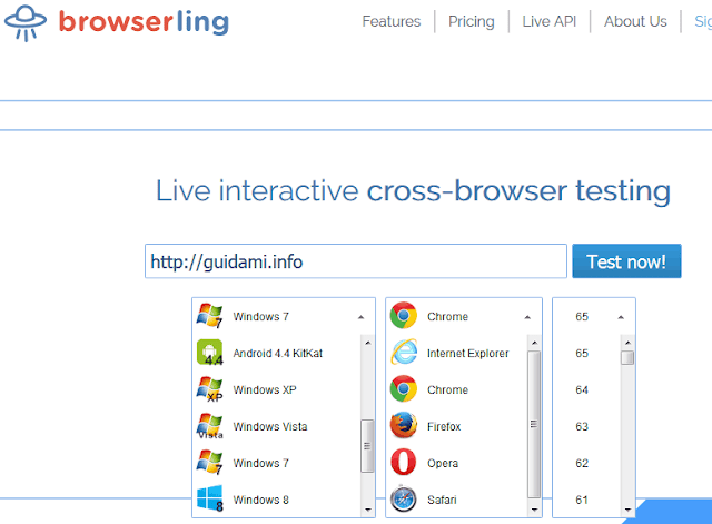 Browserling pagina iniziale del sito