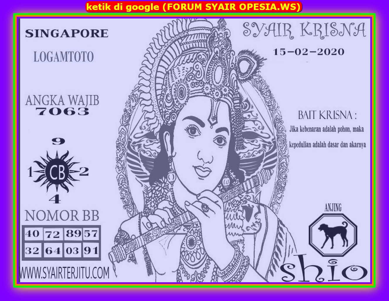 Kode syair Singapore Sabtu 15 Februari 2020 102