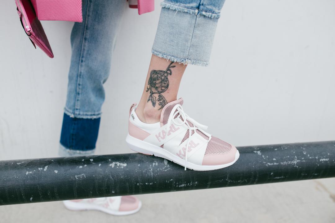 pink mesh karl lagerfeld sneakers