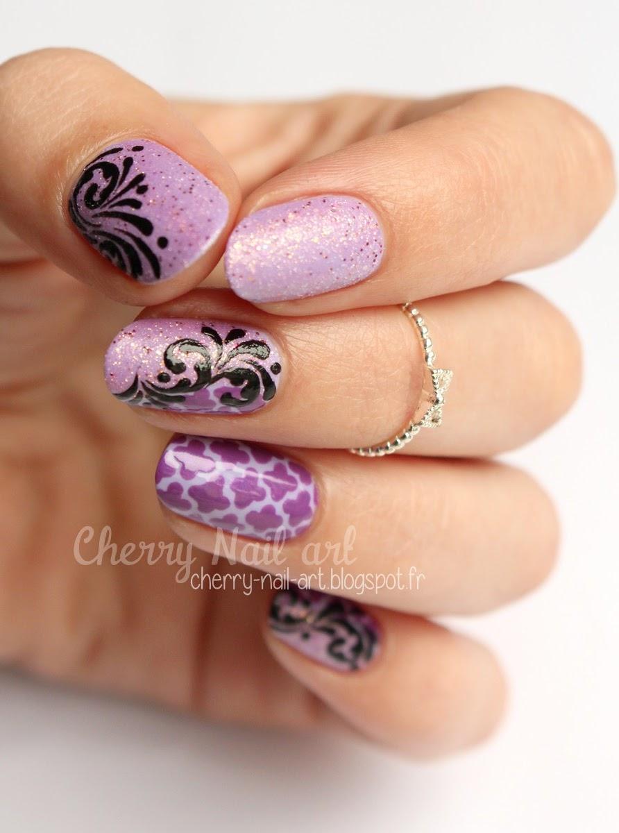 nail art geométrique et arabesques au vernis