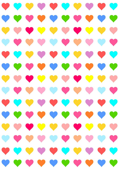 Free digital heart scrapbooking paper - colorful heart pattern for every occasion - Herzmuster
