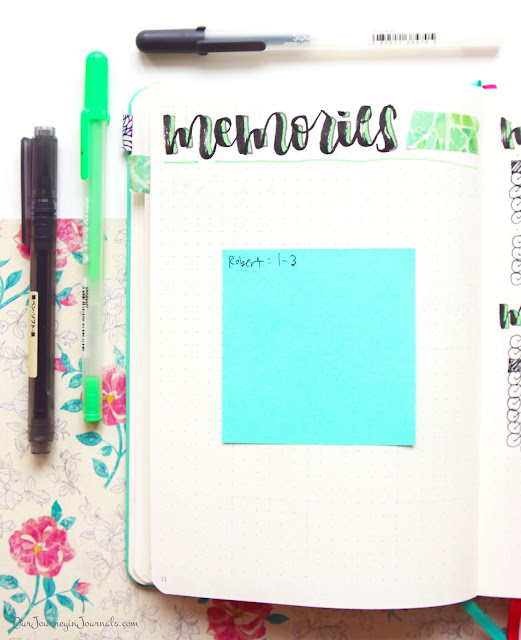 Blank bullet journal monthly memories spread for September