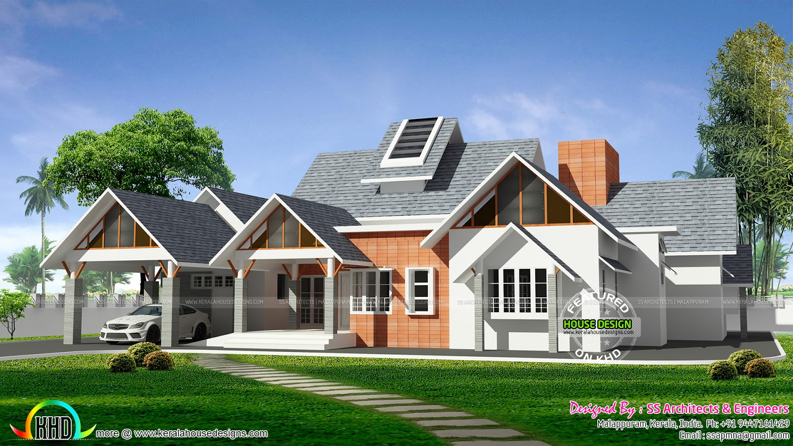 Awesome european style single floor home kerala home for Single floor house