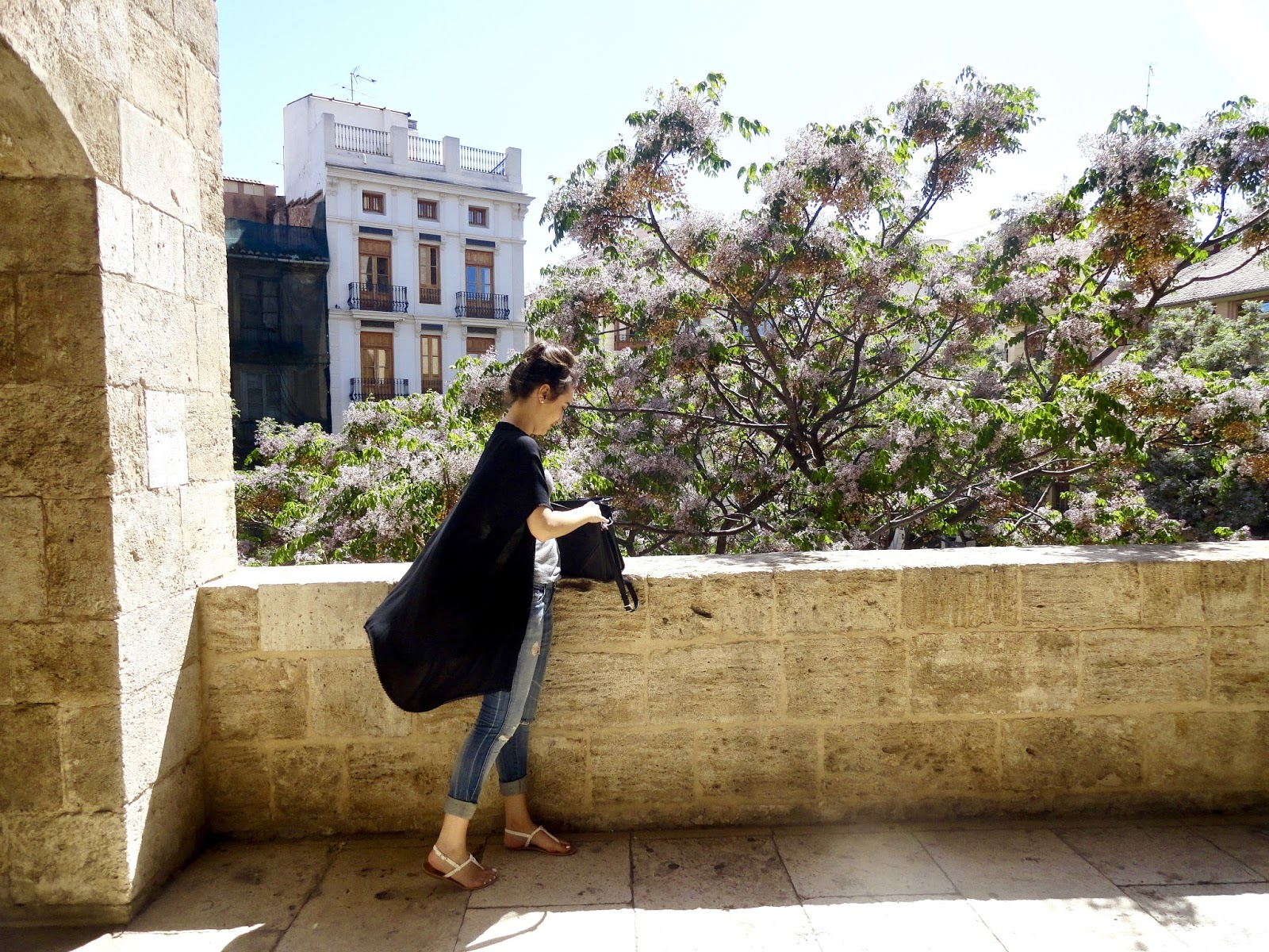 girl torres de serranos trees flowers view valencia spain