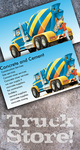 concrete mixer business cards, custom construction and farming business cards, cement mixer business cards, construction business cards,