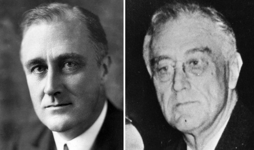 15 Before And After Photos Of US Presidents Depict How Their Job Transformed Them - Franklin D. Roosevelt (1933-1945)