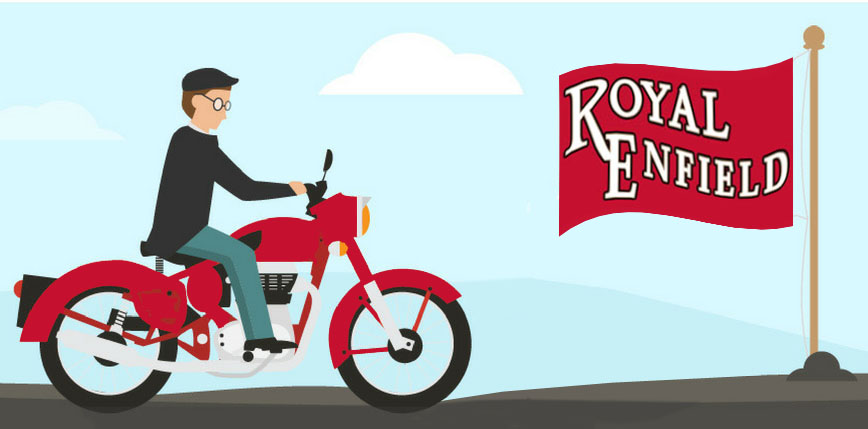 Drawing of motorcycle rider and Royal Enfield flag.