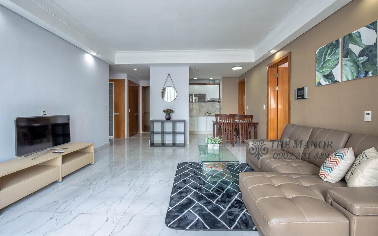 Cho thuê căn hộ chung cư The Manor 2PN - phòng khách song song bếp
