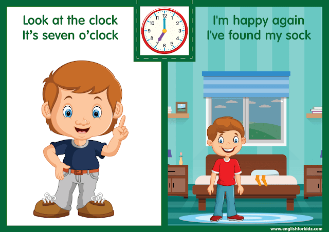 Telling the time worksheet - seven o'clock on the clock - printable ESL resources