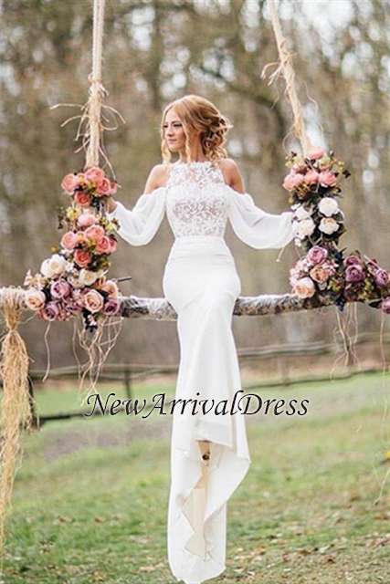 Chiffon Elegant Mermaid Long-Sleeves Lace Wedding Dress