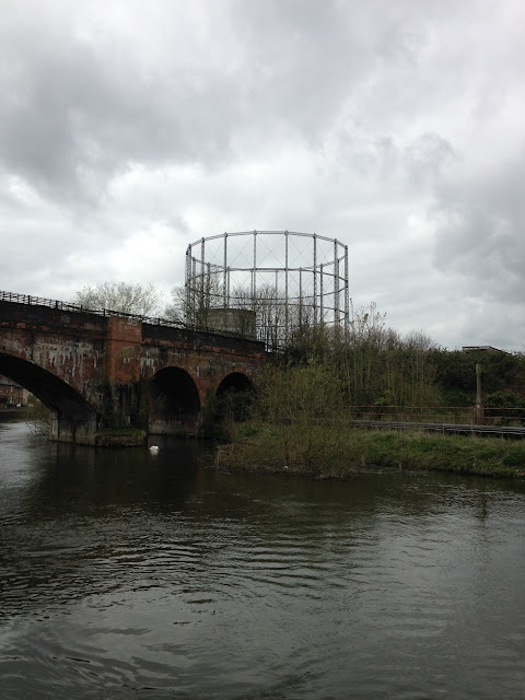 Gasometer and railway bridge, near Reading, Berkshire