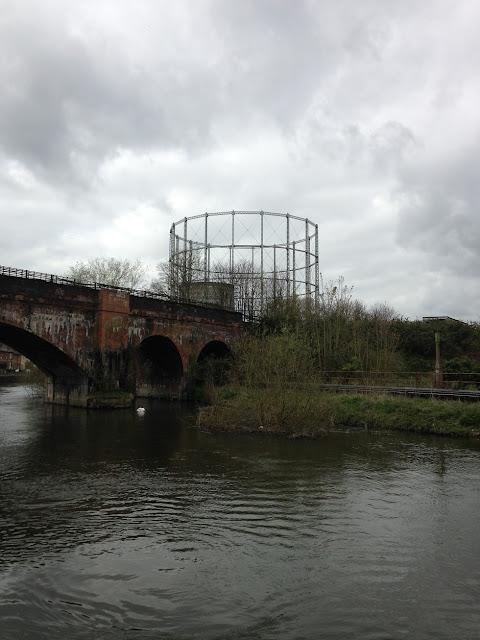 Gasometer and railway bridge, near Reading, Berkshire