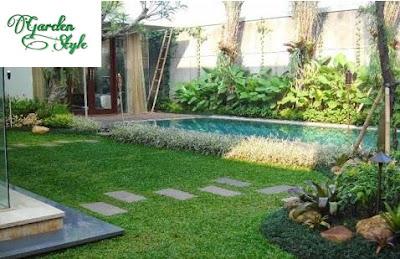 kolam dengan taman minimalis