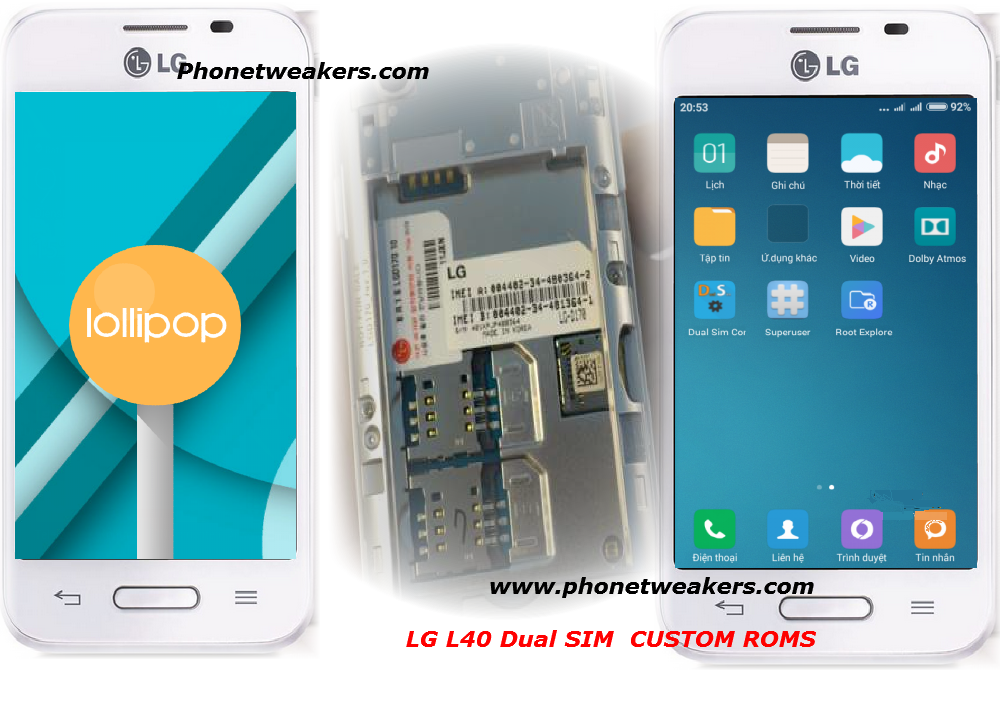 Android 4 4, 6 0 and 5 0 Custom Roms For LG L40 Dual ( LG