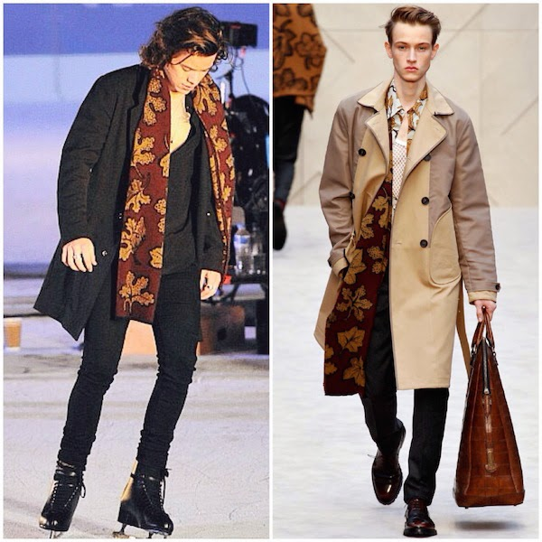 bfdea92c4a9 Harry Styles s Burberry Prorsum leaves print scarf - Music Video shoot at  Natural History Museum