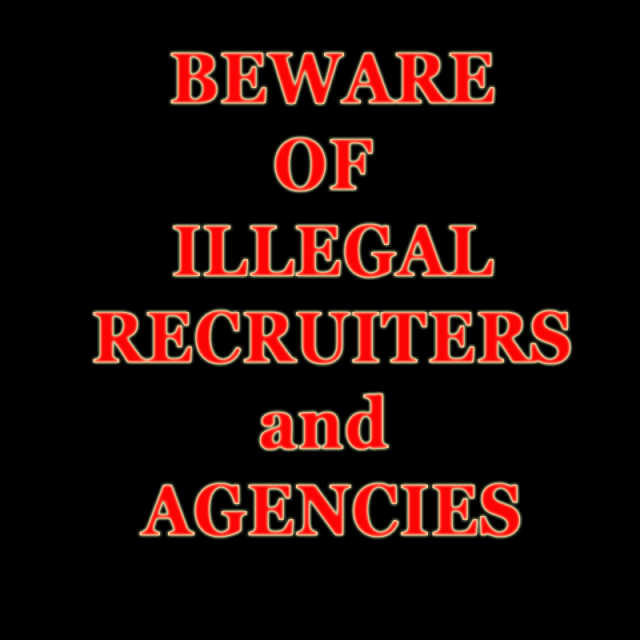 Beware of Illegal Recruiters and Online Scams