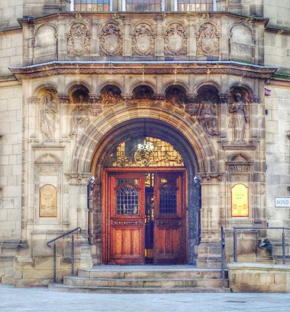 The door of County Hall, Wakefield