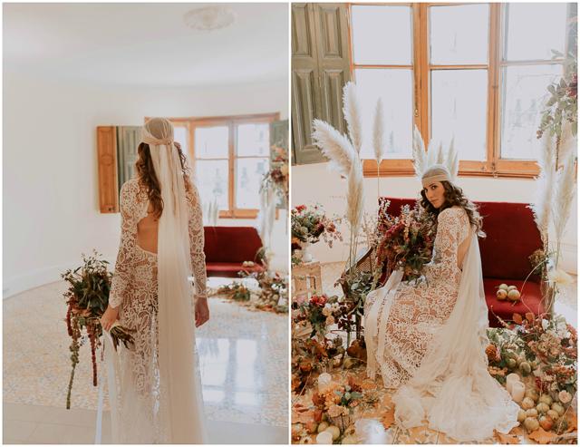 novia modernista casa punxes tocado boho bohemia plumas exotica