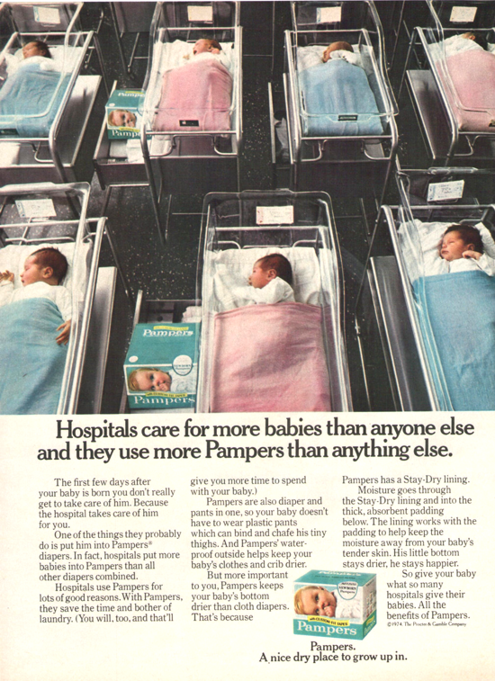 Pampers advertising 1974