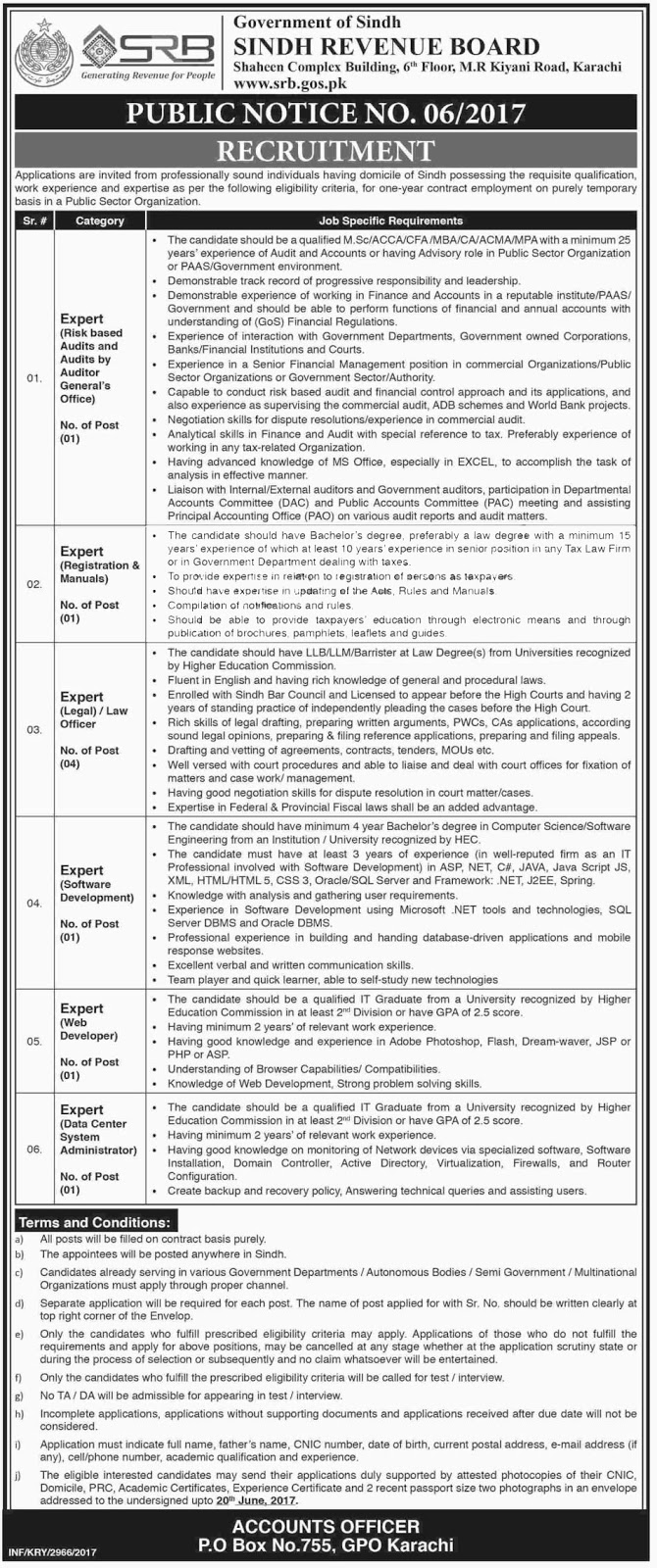Board Of Revenue Govt Of Sindh FBR Jobs  6 June 2017