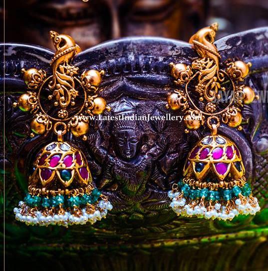 Peacock Design Kempu Jhumkas