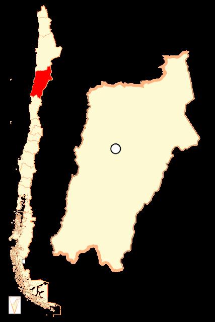 Mapa de localização da Região do Atacama - Chile