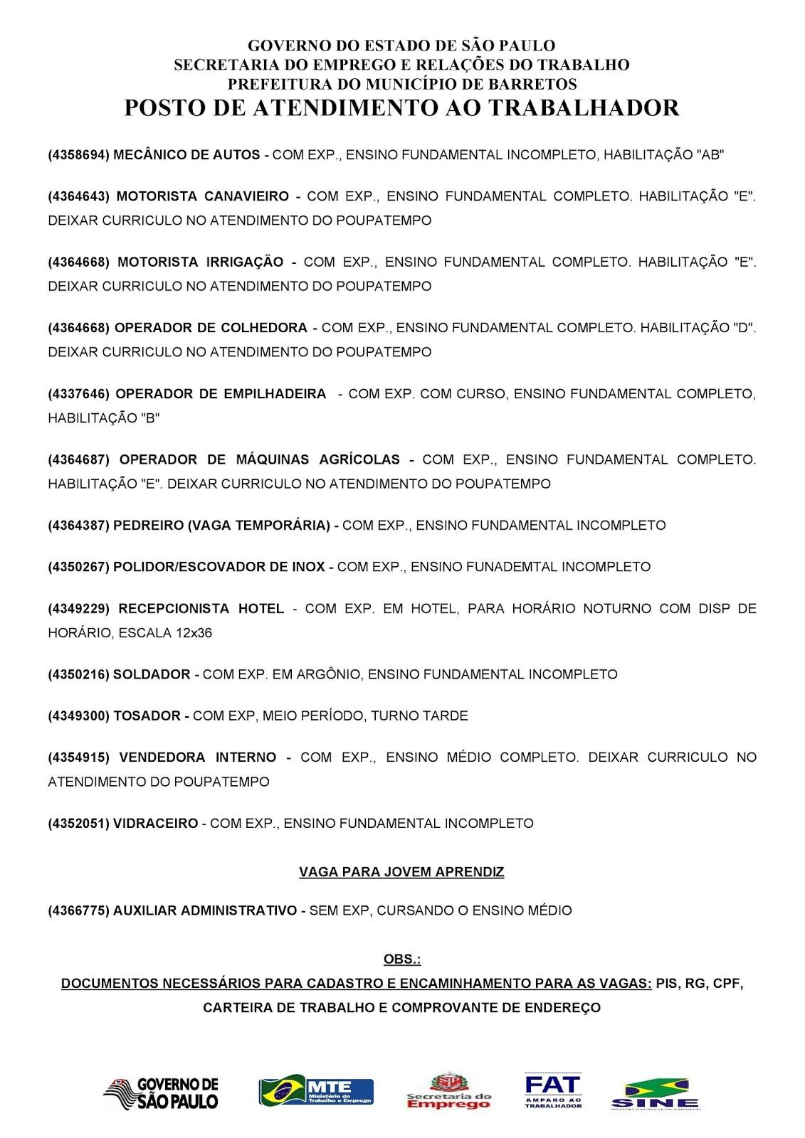 VAGAS DE EMPREGO DO PAT BARRETOS-SP PARA 17/01/2018 QUARTA-FEIRA - PAG. 2