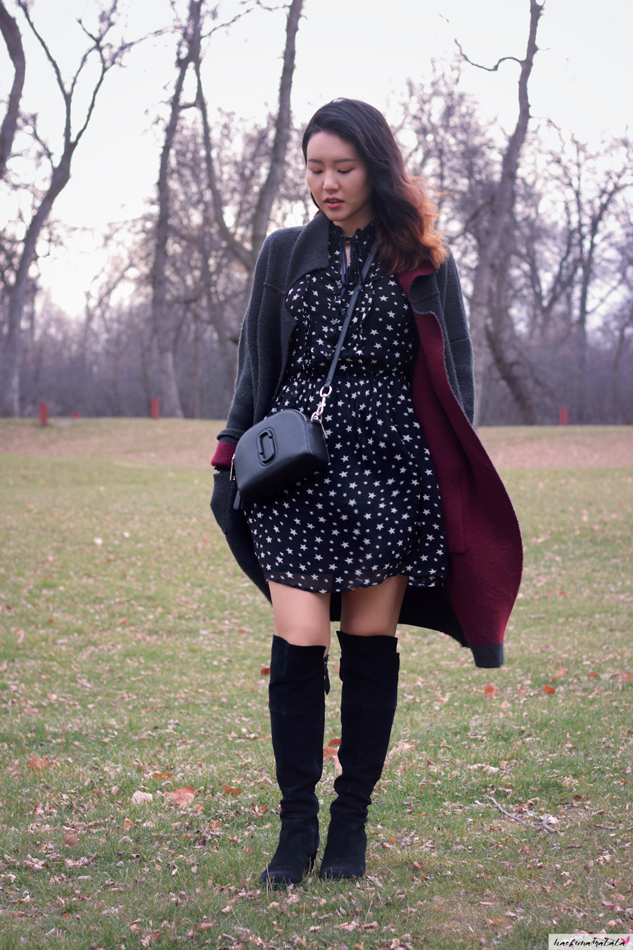 Cold Weather #ootd: Denim & Supply Ralph Lauren Star Print Dress, Marc Jacobs Shutter Bag, Black Suede Knee High Boots