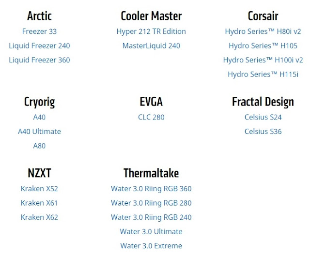 AMD publishes list of currently available CPU cooler for Threadripper