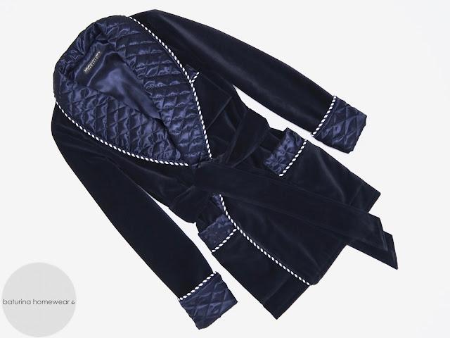 Men's blue velvet smoking jacket quilted silk dressing gown warm lined robe vintage gentleman