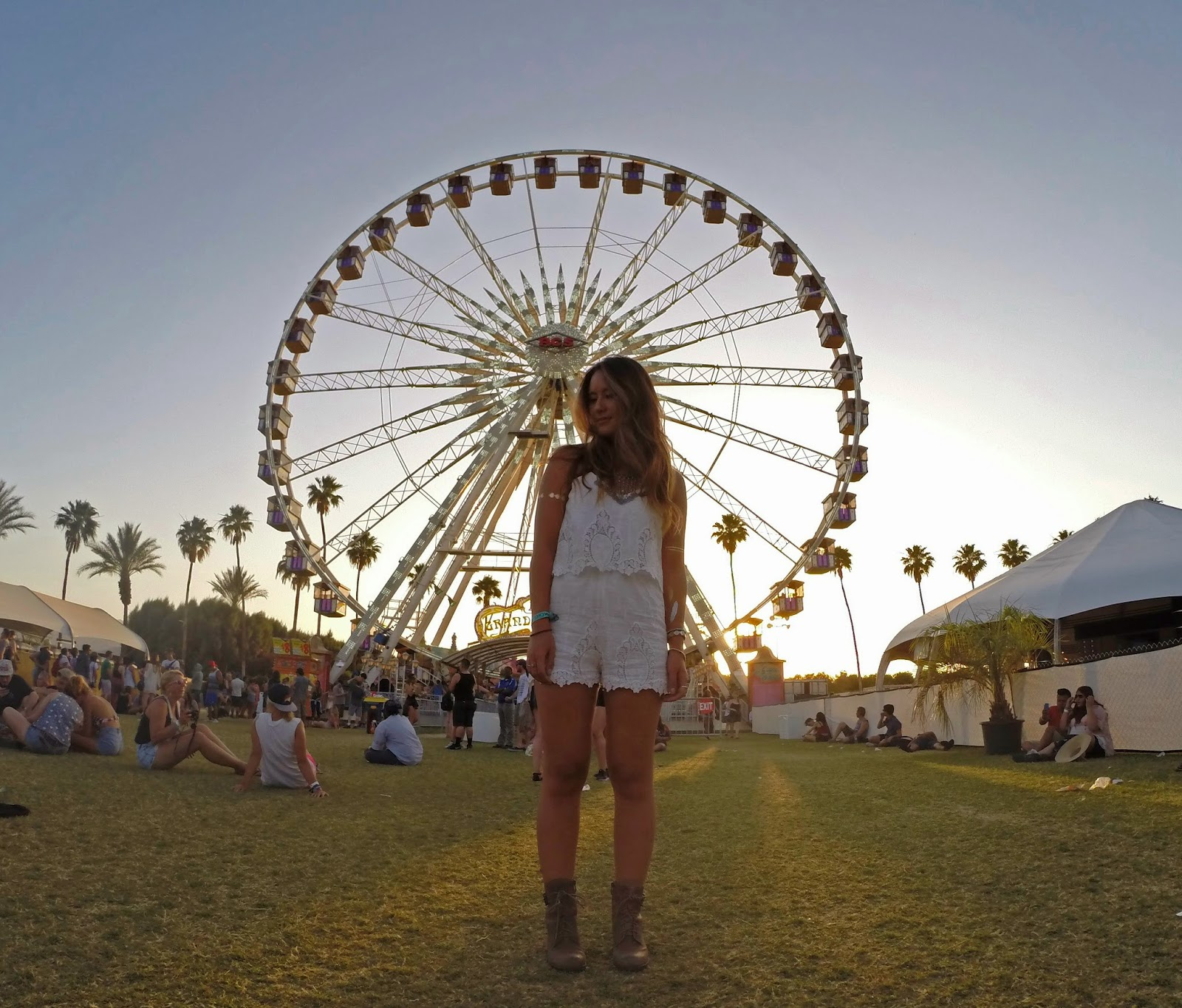 Fashion blogger Boho Nouveau with the Coachella ferris wheel - Peace & Love: Coachella Outfits by popular Orlando fashion blogger Mash Elle