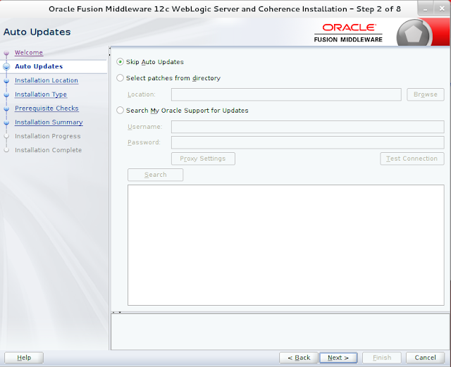 Weblogic Server Installation wizard screen 2