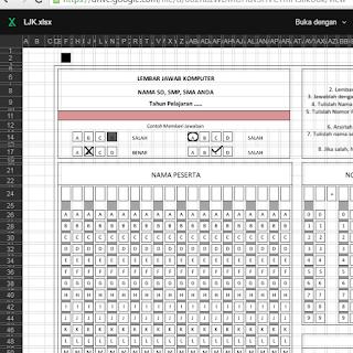 Download Format LJK Untuk UTS, UAS, US atau Pra UN dengan Menggunakan MS. Office Excel