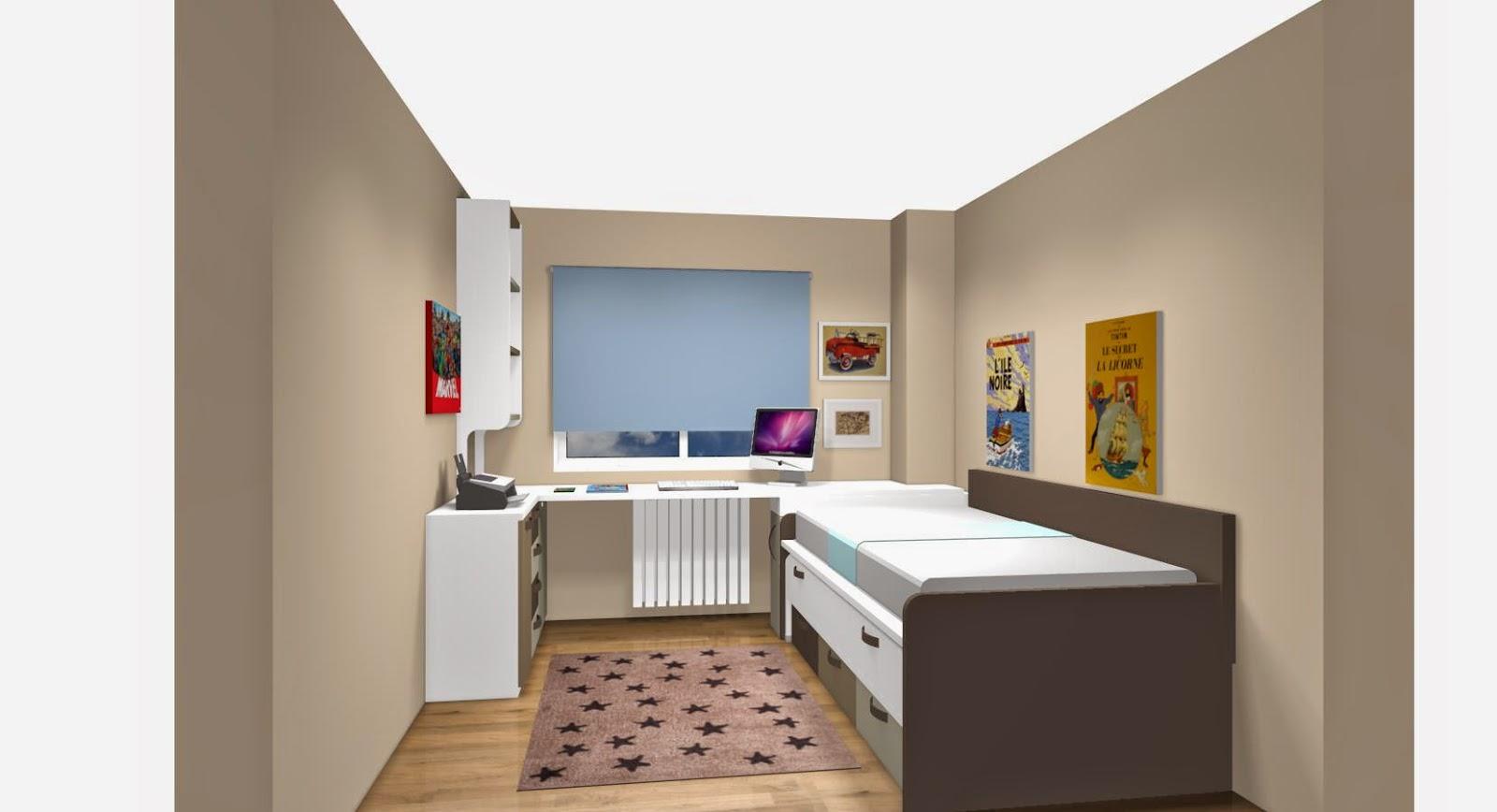 Zona de estudio combinada con mesa de estudio a medida con - Dormitorios juveniles ...