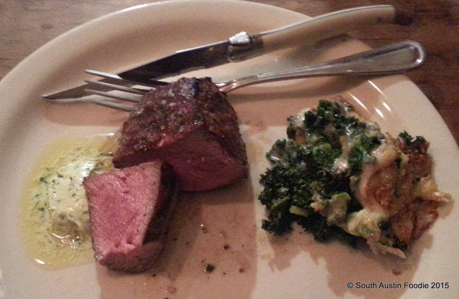 Dai Due tri tip steak with kale gratin
