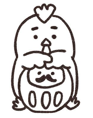 ダルマを抱えたニワトリのイラスト(酉年・白黒線画)