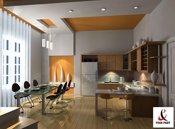 Mẫu trần nhà bếp xuyên sáng đẹp 3