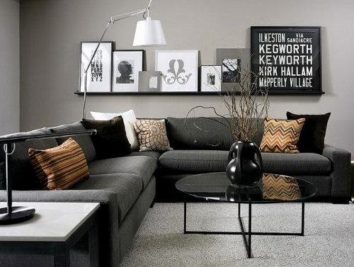 El color de las paredes con muebles negros - Paredes color gris ...