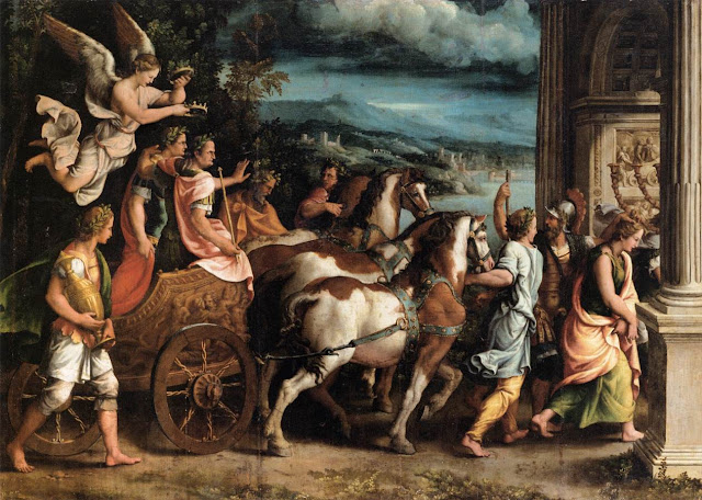 Painting Triumph of Titus and Vespasian, by Giulio Romano, c. 1537. Titus and Vespasian depicted in a Roman Triumph celebratory parade. Memento Mori and YOL. Other stories of Trump and Megalomaniacs. marchmatron.com